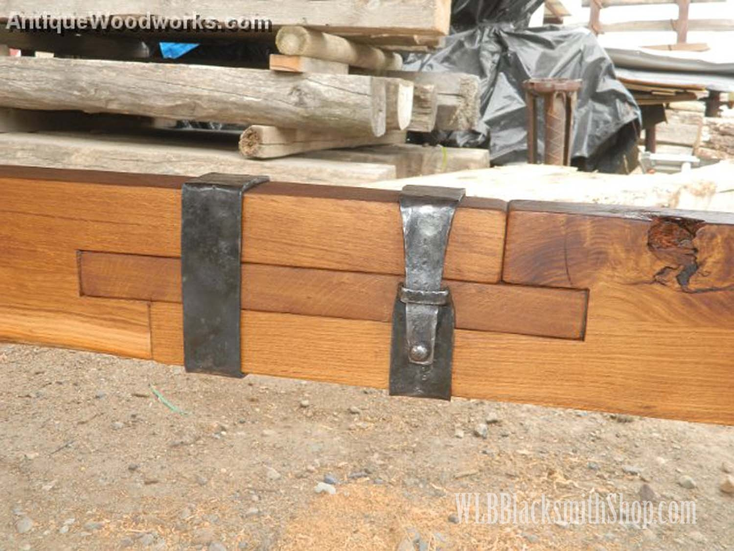 Mantel with metal straps